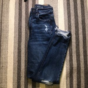 American Eagle Mid Wash Ripped Mom Jeans